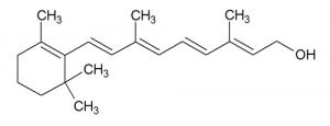Schéma d'une molécule de vitamine A ou rétinol
